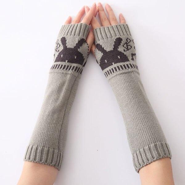 1pair Women Girls Winter Fall Long Soft Knit Crochet Arm Leg Fingerless Gloves Mitten Warmer With Rabbit Pattern   LF88