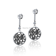DORMITH free shipping women's 925 sterling silver drop earrings 0.6 carct  AAA cubic zirconia earrings black gold plating