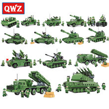 QWZ Army Tank Building Blocks Bricks Military Compatible Legoings Weapons Brinquedo Menina Toys For Childre Christmas Gift(China)