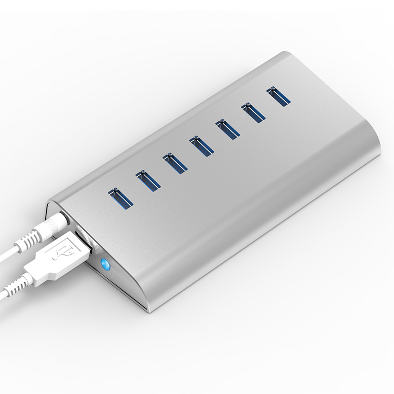 Prix pour Hub usb 3.0 7 port avec dc chargeur plug commutateur multiple usb splitter aluminium usb-hub peignes pour ordinateur portable/tablet blueendless h701u3