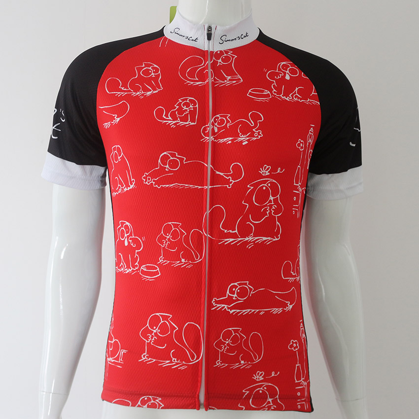 ... Simon s cat Red MEOW Cartoon Cat Mens Cycling Jerseys Short Sleeve MTB  Road Dh Bike Clothes ... 44883d7e9