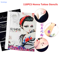 Tijdelijke Shimmer Glitter stencil vrouwen mannen kids Make leuke tekening sjablonen kat bloem brief airbrush henna tattoo stencil