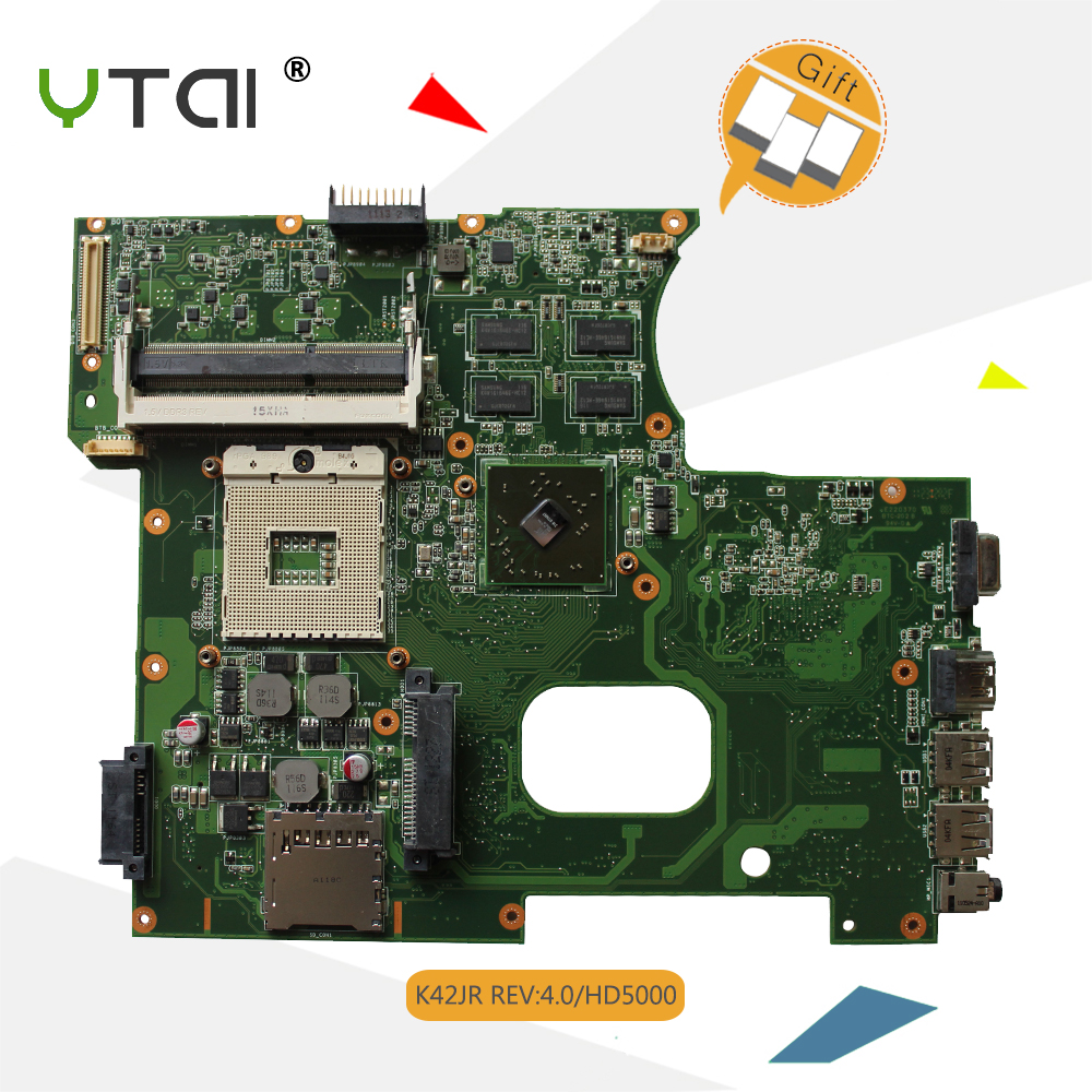 YTAI K42JR Rev4.0 mainboard for ASUS K42J K42JZ K42JY K42JR Laptop Motherboard DDR3 HM55 512M with 4 pcs Memory Card Mianboard