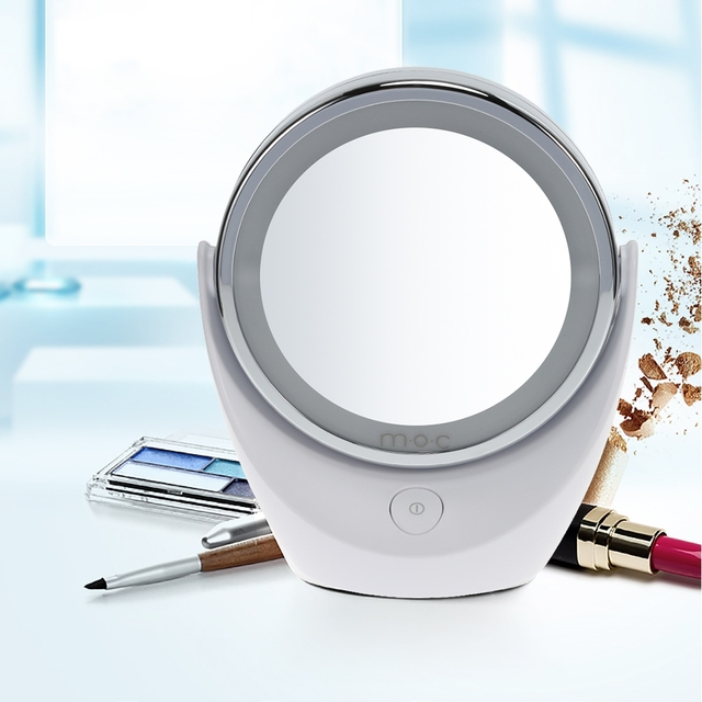 Portable LED Makeup Mirror With Light Double Sided Pocket Lighted Makeup  Mirror Bedroom Desktop Round