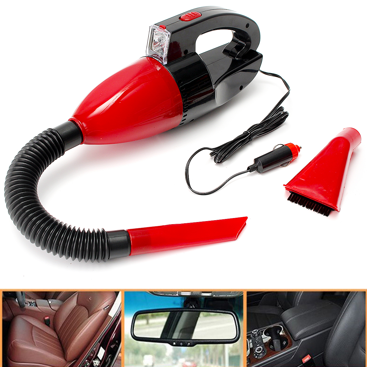 12V Vacuum Cleaner for Car Auto Dry Wet Dust Dirt Handheld Hand Mini Portable Red Vacuum Cleaner Electrical Appliance