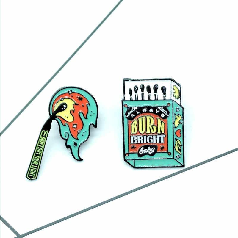 Kreatif Kotak Korek Api Pertandingan Bros untuk Wanita Pria Merah Hijau Kepribadian Denim Memakai Jaket Tas Lencana Enamel Pin Bros Perhiasan
