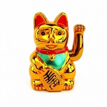 Plastic Electric Waving Lucky Cat 6 Feng-Shui Money Maneki Neko Gold Free Shipping