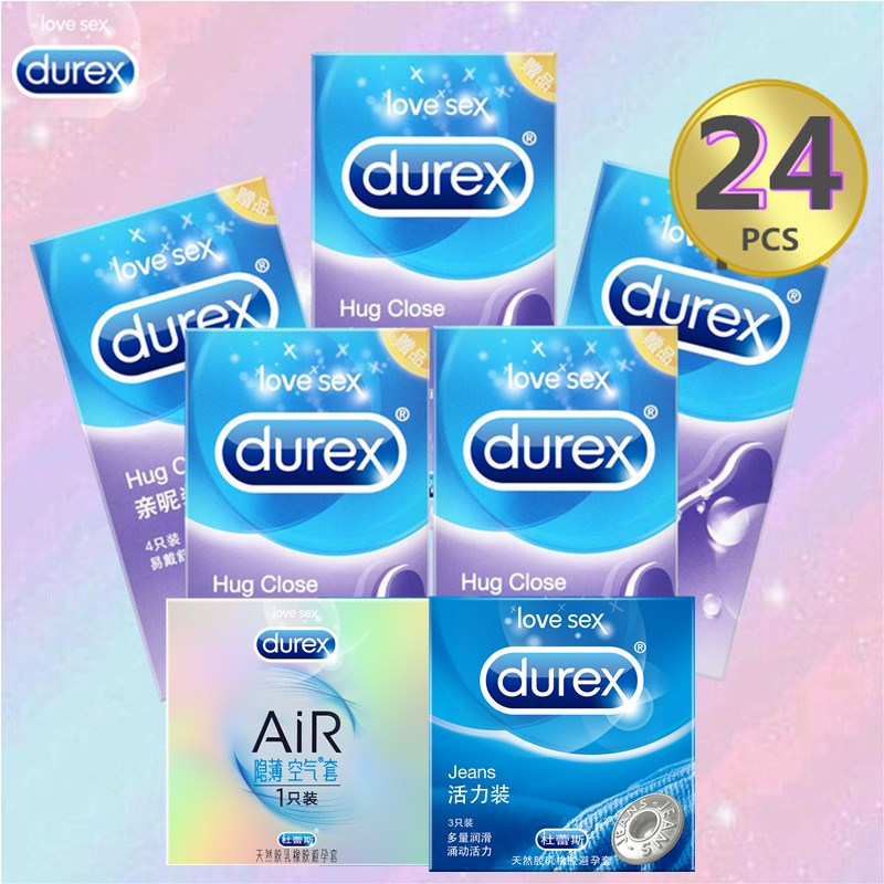 Durex Smooth Sex Condom 20/24 Pcs Extra Lubricant Jeans Hug Close Safe Sex Natural Latex Rubber Penis Sleeve Condoms for Man