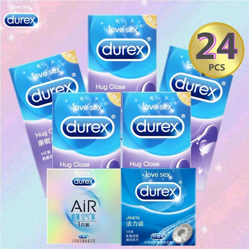 Durex suave sexo preservativo 20/24 pçs extra lubrificante jeans abraço perto seguro sexo natural látex borracha pênis manga preservativos para o homem