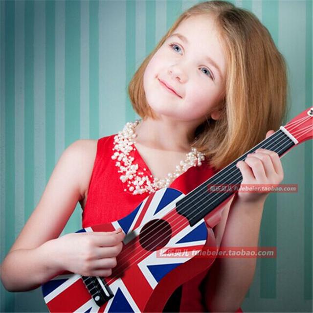 6 cordas de guitarra mini para as crianças as crianças podem play brinquedo musical de madeira pequena guitarra cordas de aço