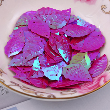 Free shipping 300pcs/lot  13*22mm Leaf with 2 holes sequins Fuschia colors Jewelry Accessories cloth crafts confetti clothing