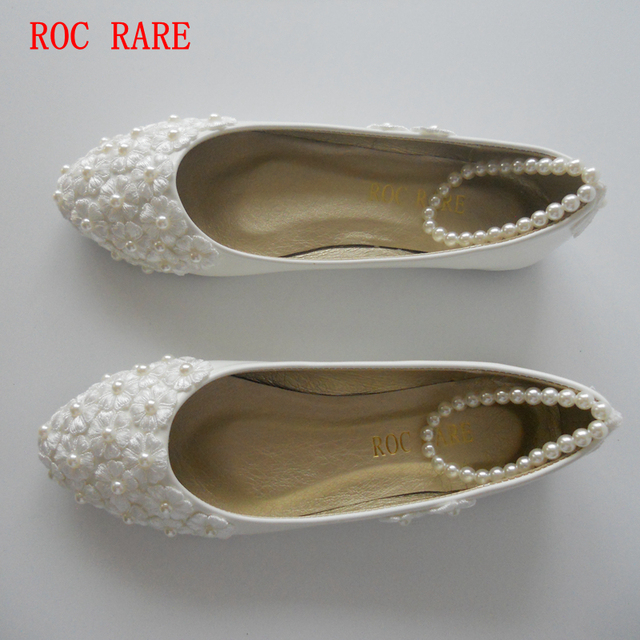 New Fashion White Lace Pearl Women Wedding Shoes Pointed Toes Pearls Bandage Bridal Shoes Big Size Party Pumps White Lace Shoes