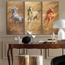 3 panels office Painting Hand Painted Abstract Wall Paintings Home Decor Oil On Canvas Pictures running horse