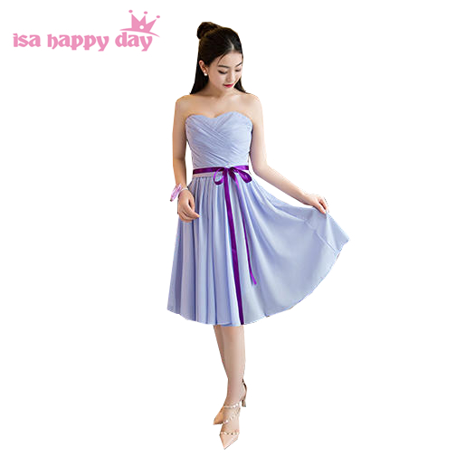 lilac light purple girls sweetheart modest formal strapless bridesmaid  elegant chiffon short bridesmaids gown dresses H4137 870ee45f0464