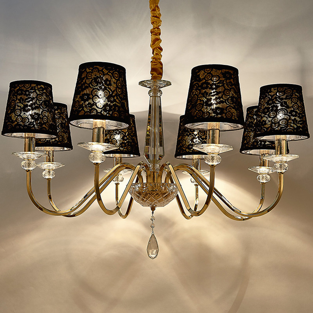 Ceiling Lights & Fans American Rustic Wrought Iron Chandelier Lamp Home Led Chandelier For For Dining Cafe Lounge Aisle Brass Crystal Hanging Light