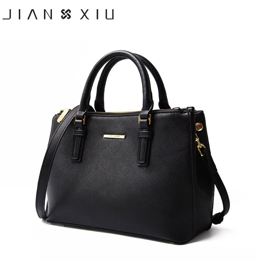 JIANXIU marca de cuero genuino bolso de mano de lujo Bolsos De Mujer diseñador de alta calidad de textura cruzada bolso de hombro 2018 grande-in Bolsos de hombro from Maletas y bolsas    1