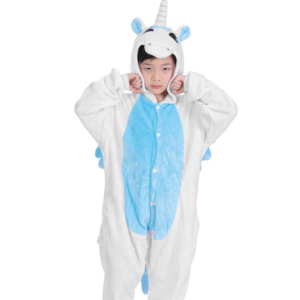 Mutter & Kinder Initiative Outad Kinder Volle Hülse Pyjama Einhorn Kid Nette Tier Footed Pyjama Einteiliges Weiche Flanell Pyjama Cartoon Kinder Nachtwäsche Decke-schwellen