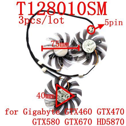 Bezmaksas piegāde 3gab / partija T128010SM 5PIN par Gigabyte GTX460 GTX470 GTX580 GTX 670 HD5870 Grafikas kartes ventilators