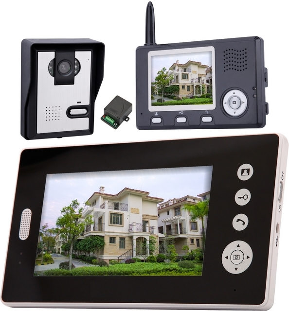 2.4Ghz Wireless Intercom  Video Door Phone   With One 3.5 Inch And One 7Inch Wireless Monitor