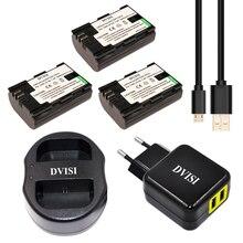 LP-E6 LPE6 3pcs 2000mAh Bateria Recarregável + USB Carregador Duplo para Canon 70D 5DII 5D2 5D3 7D 6D 60D com UE/EUA Adaptador de Tomada de Pino 2