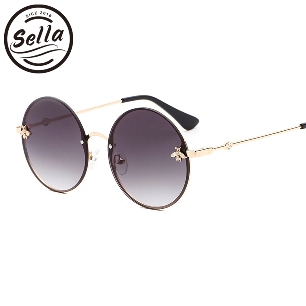 765df98d07 Detail Feedback Questions about Sella Fashion Retro Round Gradient Lens  Women Men Sunglasses Brand Designer Classic Bees Decoration Alloy Frame Sun  Glasses ...