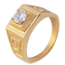 Gold men s women s fashion Cubic Zirconia Wedding ring stainless steel trendy CZ finger ring