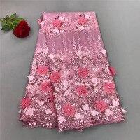 2018 Хит продаж Розовый африканских бисером кружевной ткани объемный цветок ткань вышитый тюль сетки кружевной ткани для торжественное плат
