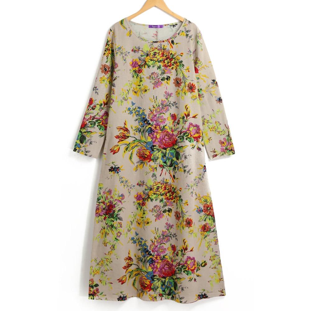 EaseHut 19 New Vintage Women Maxi Floral Dress Plus Size Long Sleeves Pockets O Neck Cotton Linen Loose Robe Dresses vestidos 11
