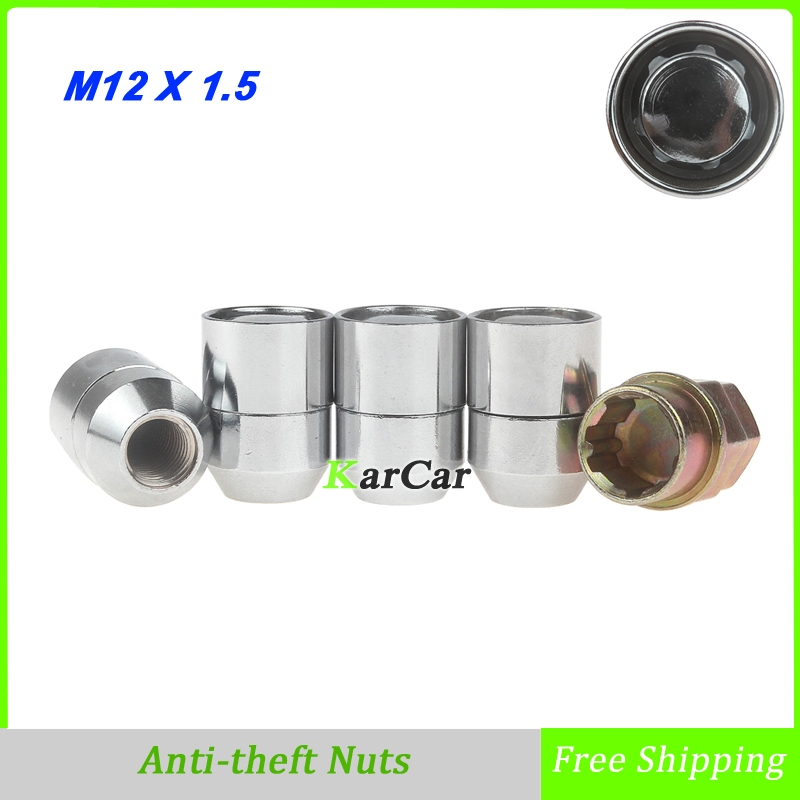 4 Pieces Alloy Steel Closed Ended Anti theft Wheel Lug Nuts with Key Auto Car Enhanced Groove Security Nuts M12x1.5 Chrome free shipping jdmspeed chrome spike lug nuts 14x1 5 for chevy silverado tahoe 4 4 tall w key 24 pcs