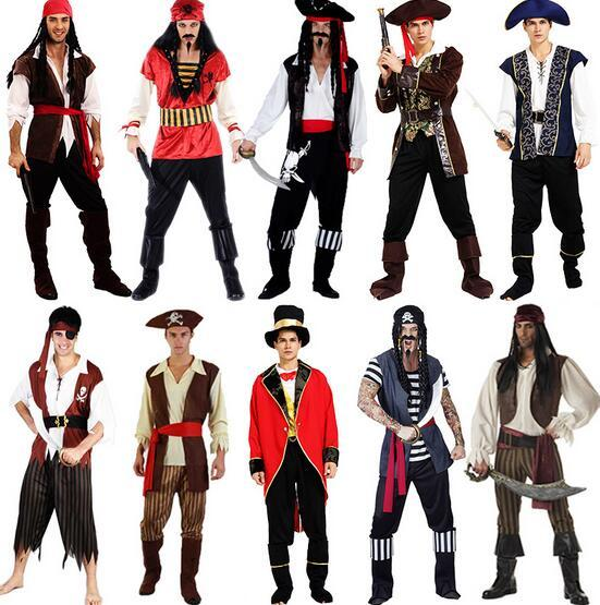2017 Hot Party Performances Pirates Costume Men Captain Cosplay Uniforms  Pirate Sexy Adult Clothes Halloween Costume Fancy Dress