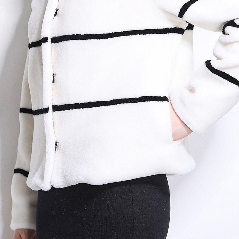 Taille Mouton Manteau Veste 5xl Blanc 6xl White Rayé 2019 Hiver De Femmes Fourrure Vraie Court And Rason Grande Nerazzurri Black Noir Naturelles Et wA6FqTnA4