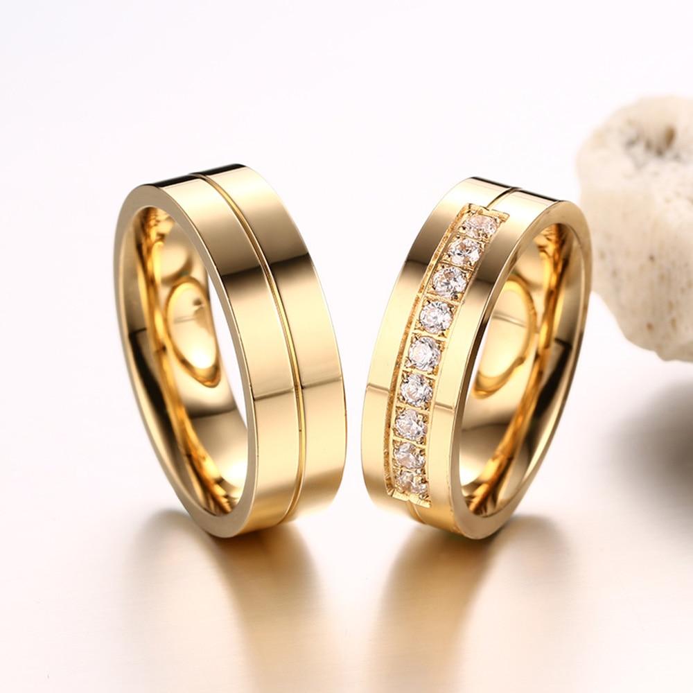 AAA + Cubic Zirconia Par Ring Guldfärg Ring för Kvinnor Man - Märkessmycken - Foto 5