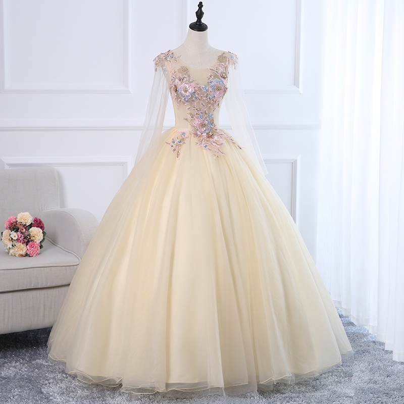 Champagne Luxury Beaded Quinceanera Dress Open Back Sweet <font><b>16</b></font> <font><b>Sexy</b></font> Girl Prom Dresses Long Sleeve Vestdos De 15 Anos Ball Gowns image