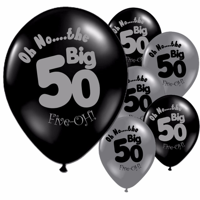 Black And Silver Balloons 50th Birthday Party 11 Pearlised Latex Printed