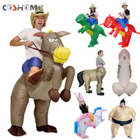 Coshome Adult Kids Inflatable Sumo Unicorn Dinosaur Costumes Cowboy AirSuits Fancy Halloween Party Clothing