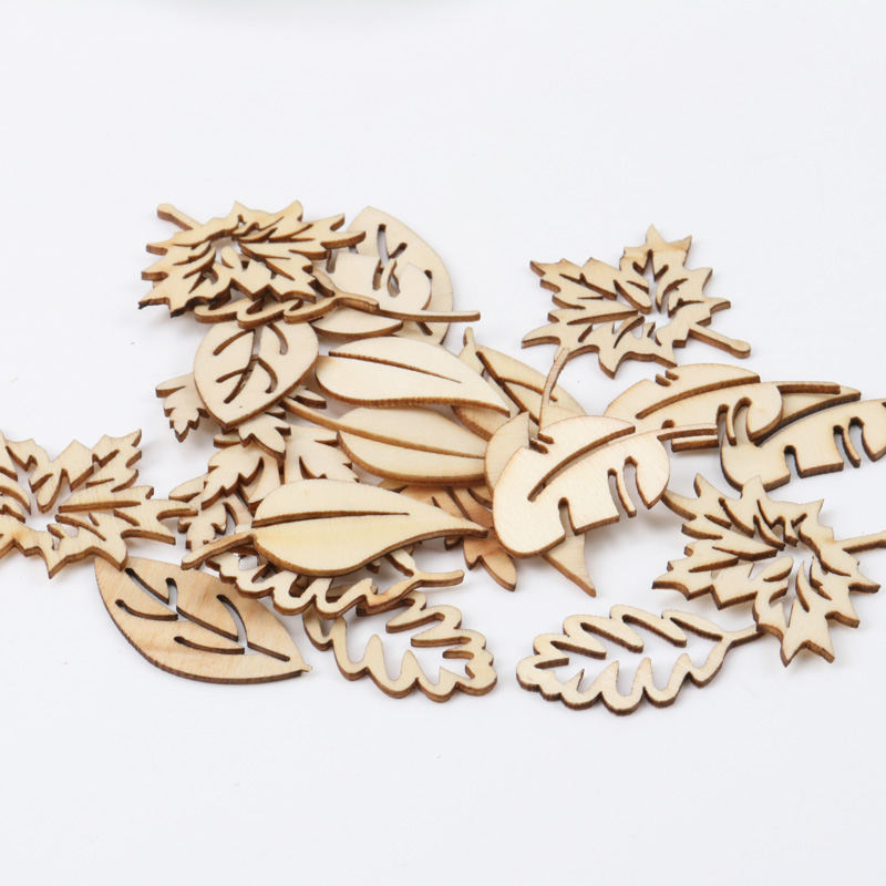 Mixed Leaves Pattern Wooden Scrapbooking Art Collection Craft For Handmade Accessory Sewing Home 20-40mm 20pcs MZ139-FD