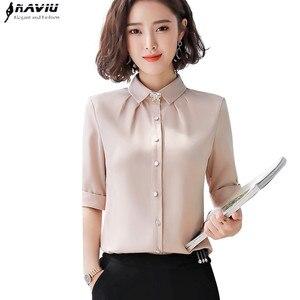 Image 1 - ฤดูร้อนแฟชั่นผู้หญิงชีฟองเสื้อเข็มกลัดส่งครึ่งแขนSlimออฟฟิศสุภาพสตรีธุรกิจสัมภาษณ์Plusขนาดเสื้อ