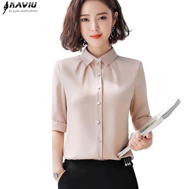 ฤดูร้อนแฟชั่นผู้หญิงชีฟองเสื้อเข็มกลัดส่งครึ่งแขนSlimออฟฟิศสุภาพสตรีธุรกิจสัมภาษณ์Plusขนาดเสื้อ