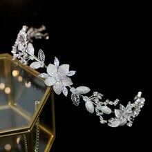 Luxury zircon crown อุปกรณ์เสริมผม headdress เจ้าสาวงานแต่งงานชุดอุปกรณ์เสริม