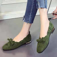 Vogue Flat Shoes Women Nice Bow Hollow Out Lady Boat Shoes Green Solid Casual Flat Shoes Women Chaussures Femme