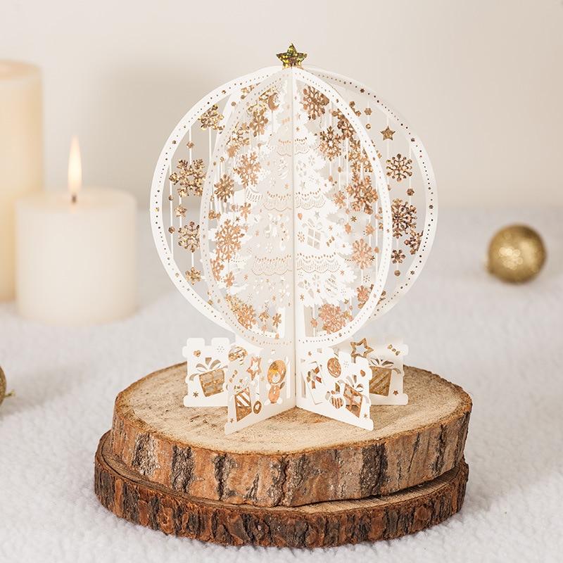 18.5cm Merry Christmas Tree Vintage lézeres vágott pop-up papír kézzel készített egyedi üdvözlőlapok Karácsonyi ajándékok ajándéktárgyak képeslapok