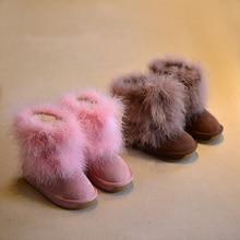 WOW Наивысшее качество ботинки в австралийском стиле зимние Детские зимние штаны теплая обувь Натуральный мех удобные принцессы Обувь для девочек Best обуви розовый коричневый, черный