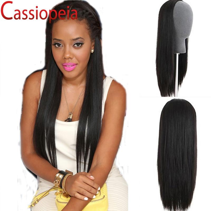 Brazilian Straight None Lace Wig Glueless Virgin Human Hair Half Wig Silky  Straight Black Blonde Color Stock 3 4 Human Hair Wig 17765de18