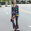 Novelty Sets 2016 New Autumn New Designer Flowers Print Fashion Suit + Slim Long Pants High Street Elegant Twinsets