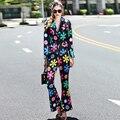 Novidade Define 2016 Outono Nova Novo Designer Flores Impressão Moda Terno + Calças Compridas Magros High Street Elegante Twinsets