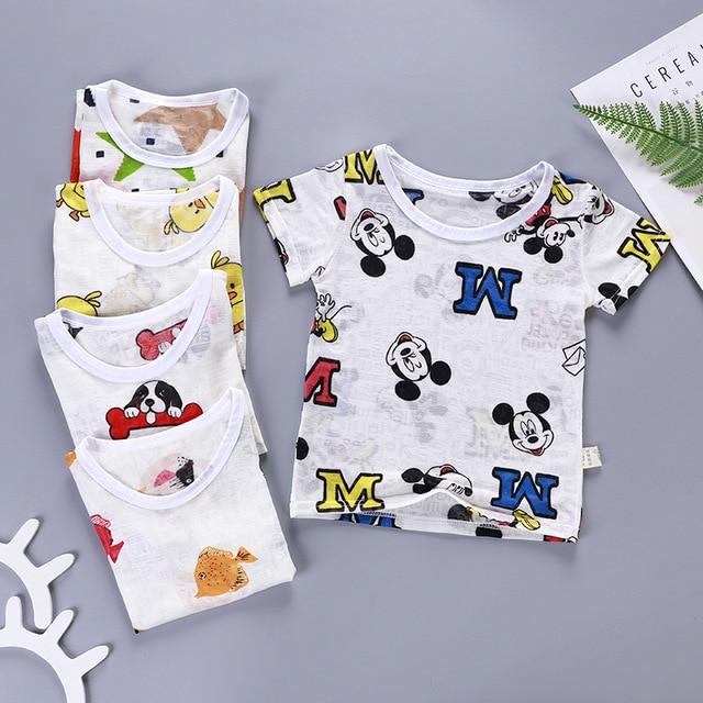 2019 Boys & Girls Mickey Mouse T-shirts Pop Heroes Cotton Short-sleeved T-shirts Printing Ultra-thin Ice Silk T-shirt Clothing