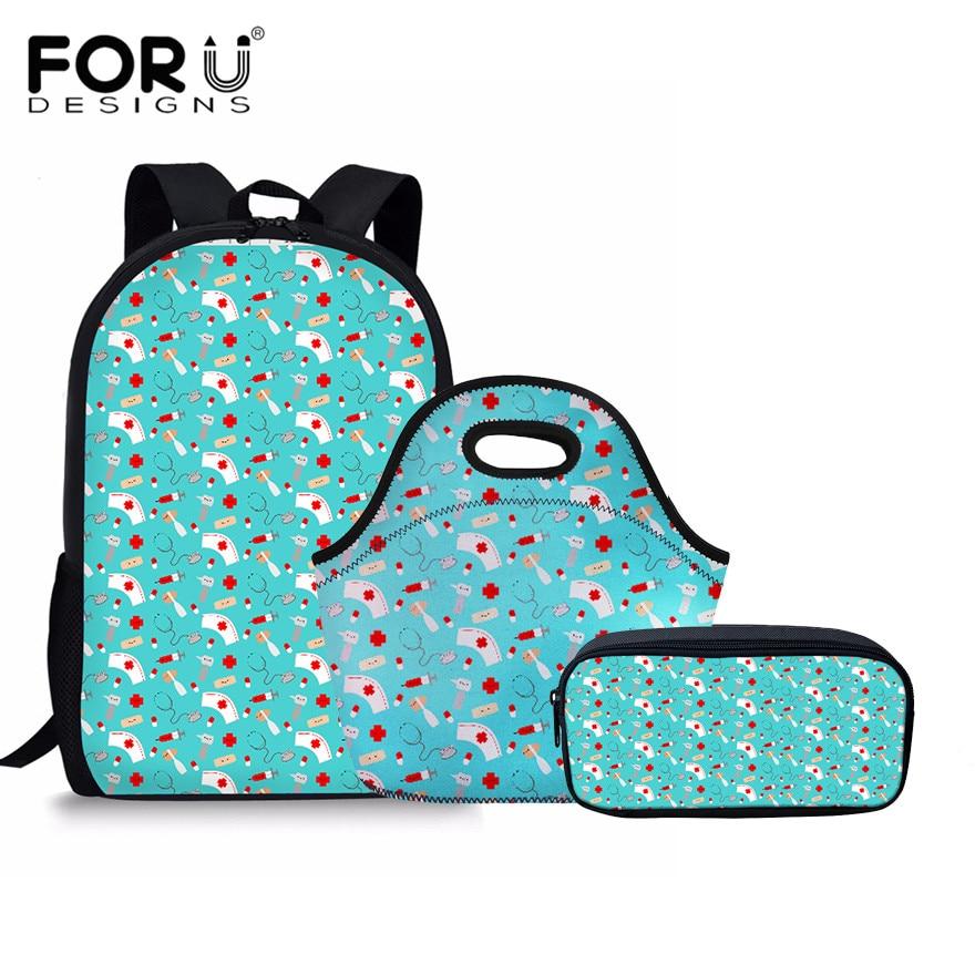 FORUDESIGNS Women Schoolbag Cartoon Nurse and Friends Print Teenage Backpacks For Girls School Bag 3 PCS/Set Lunchbag Mochila