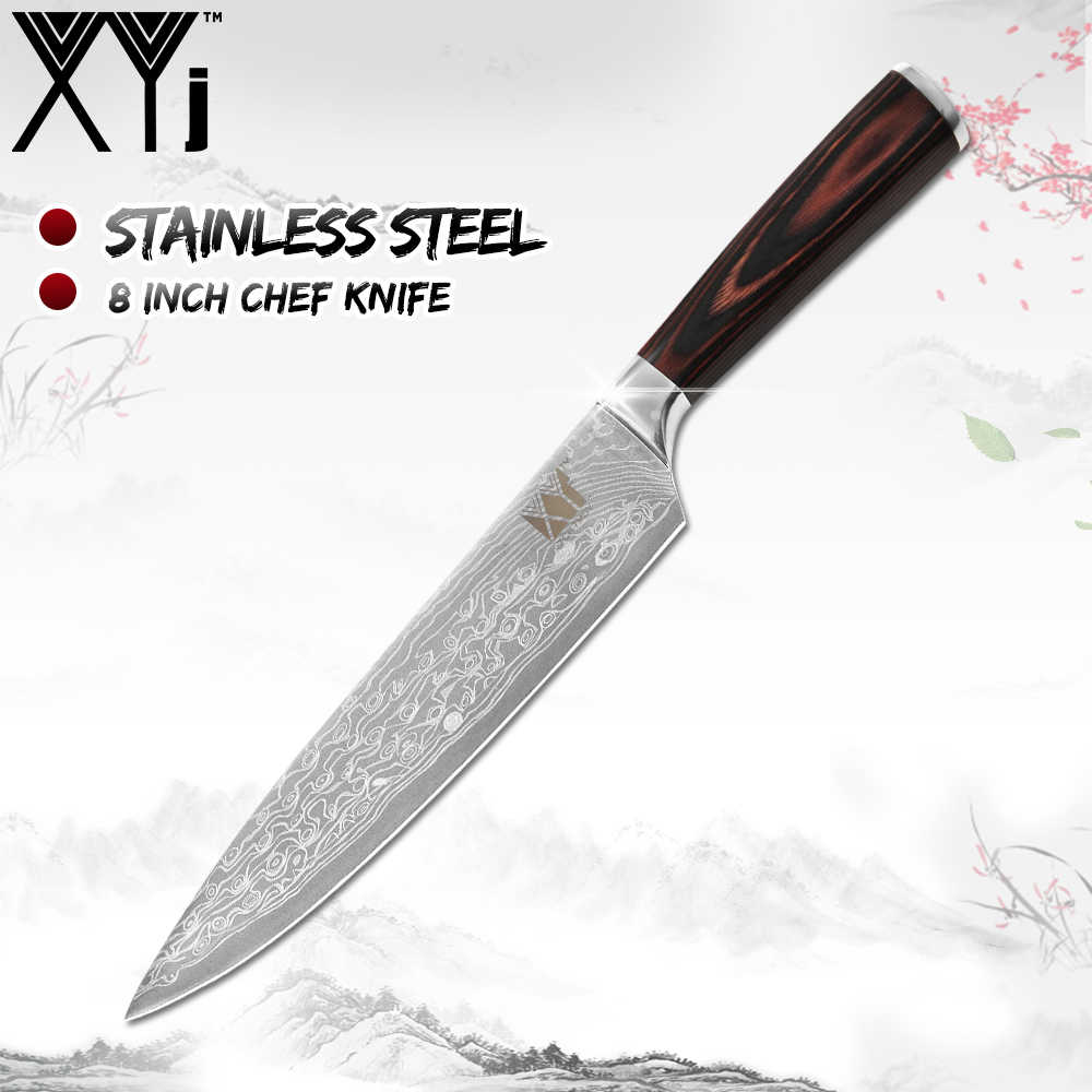XYj Hot Damascus Pattern Stainless Steel Knife Kitchen Knives SET 7Cr17 Stainless Steel Knife Color Wood Handle Cooking Tools