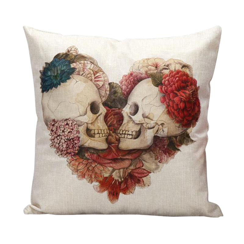 Stylish Skulls Cushion Cover Cotton Linen Throw Pillows