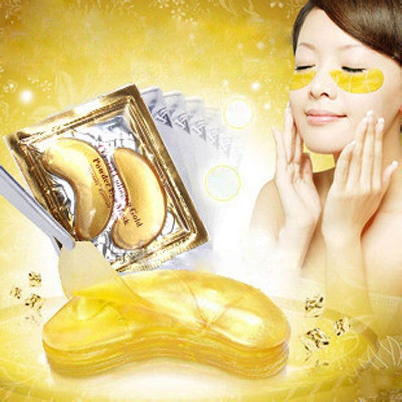 20pair=40pcs Golden Eye Mask Eye Pad Crystal Eyelid Patch Crystal Collagen Eye Mask Gold Face Masks Dark Circle Anti-Aging Cream цена